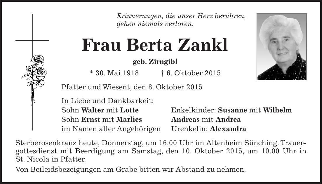 Todesanzeigen In Der Mittelbayerischen Zeitung
