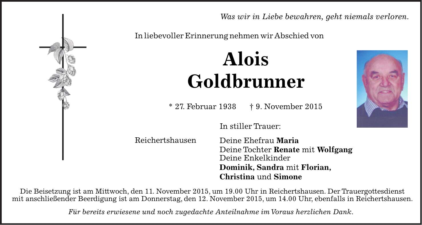 Todesanzeigen Hallertauer Zeitung