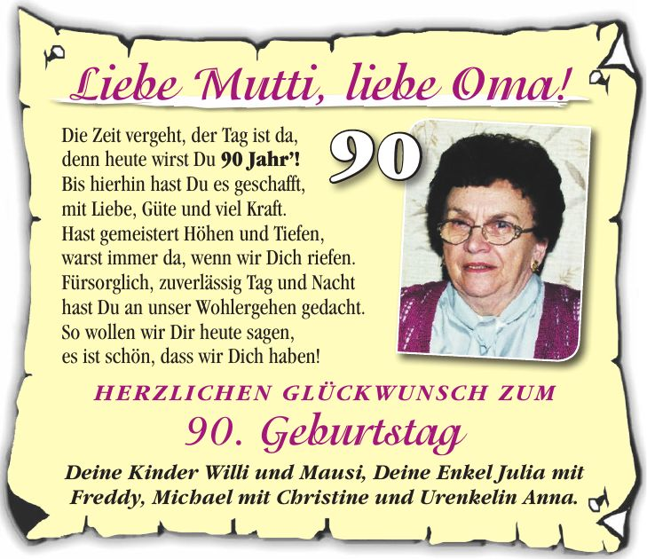 Geschenk Zum 90. Geburtstag Oma