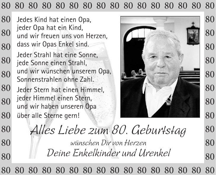 Schone Spruche Zum 80 Geburtstag Opa Herzlichen Gluckwunsch An