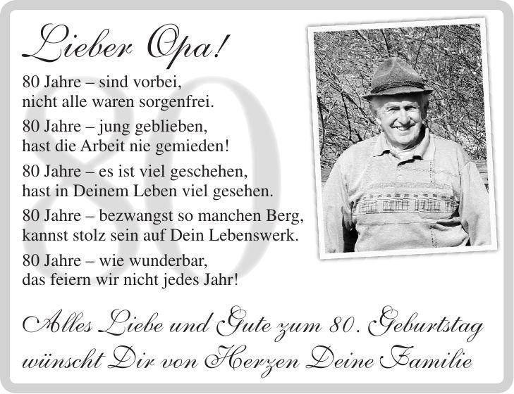 Lll Gedichte Zum 80 Geburtstag Fur Oma Opa Oder Vater Und Mutter