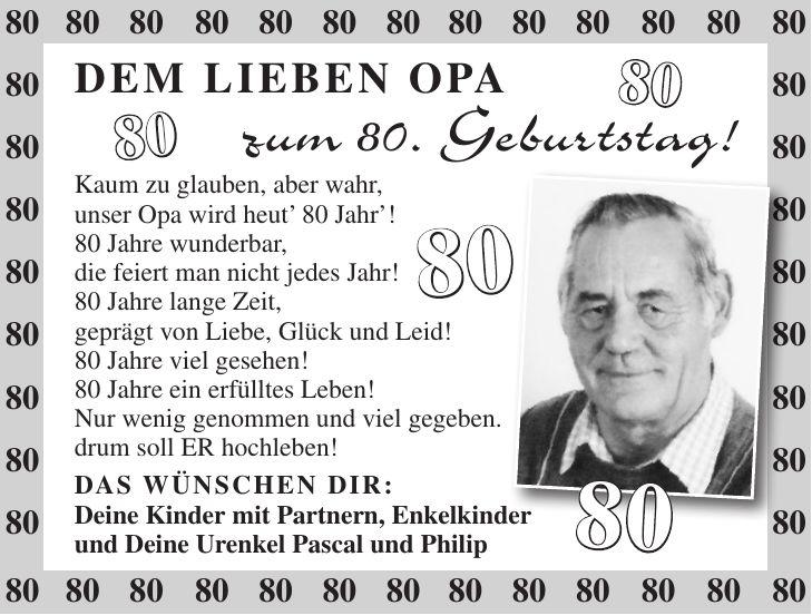Geburtstagswunsche Zum Ausdrucken Schon Gedicht Zum 80 Geburtstag