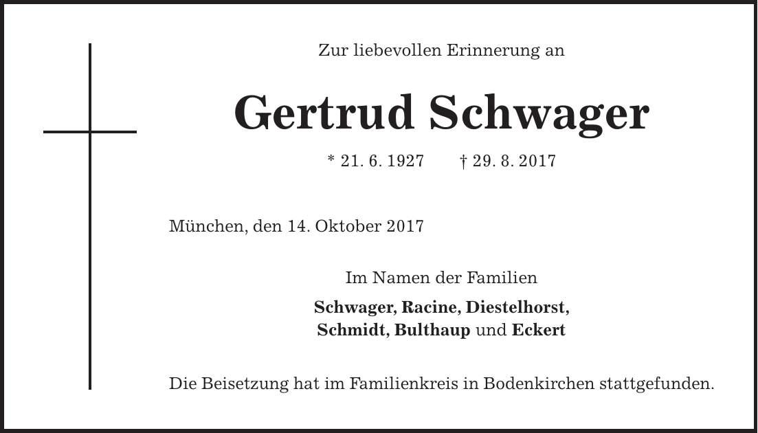 Bulthaup Bodenkirchen traueranzeige 910532 familienanzeigen todesanzeigen idowa markt