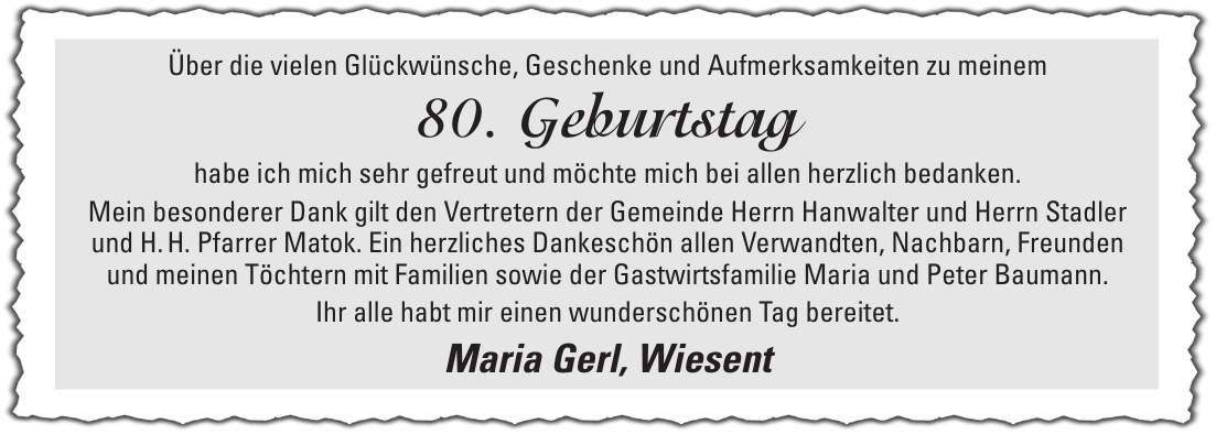Zeitungsanzeige 80 Geburtstag