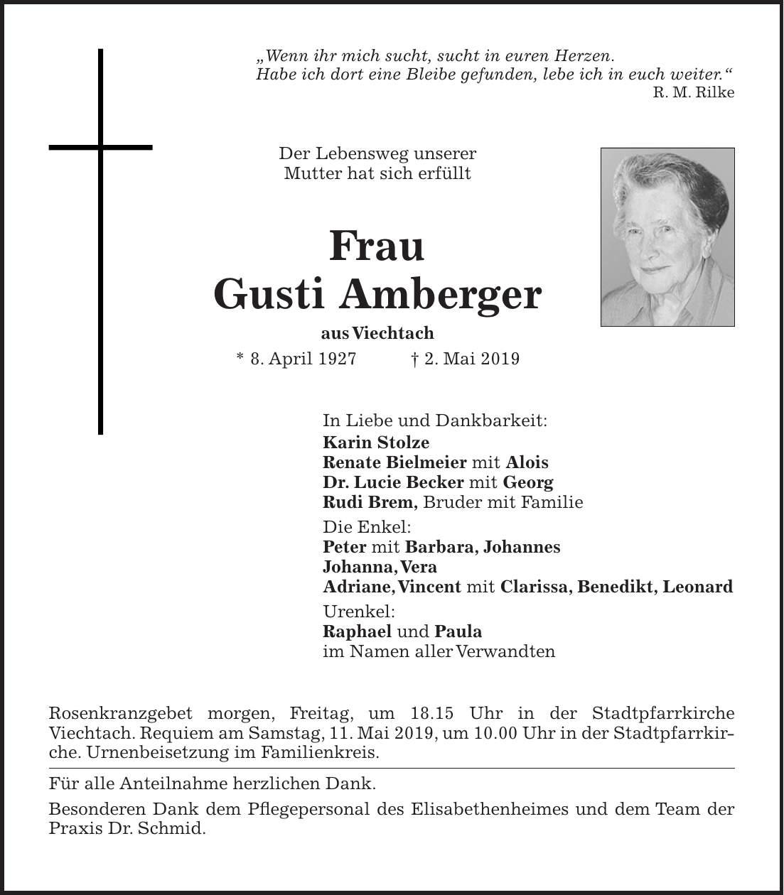 Amberger Zeitung Todesanzeigen Heute